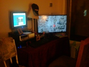 This is where my laptop and the TV are.