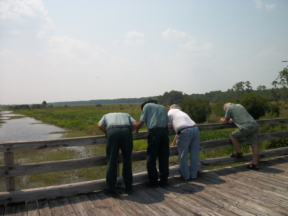 Initial Planning For The Paddle / Waterway Trail System May 17. 2011 Danny and I. Erik Our Biologist, And Bill Redmond and friend checking Out The New Boardwalk, Gangway and Kayak Launch. Where to launch? Primitive Camping Sites For It.