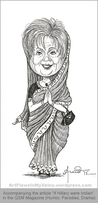 Caricature, Cartoon, Pen Drawing of Hillary Clinton - If she were an Indian Politician and wore Sari (election campaign)