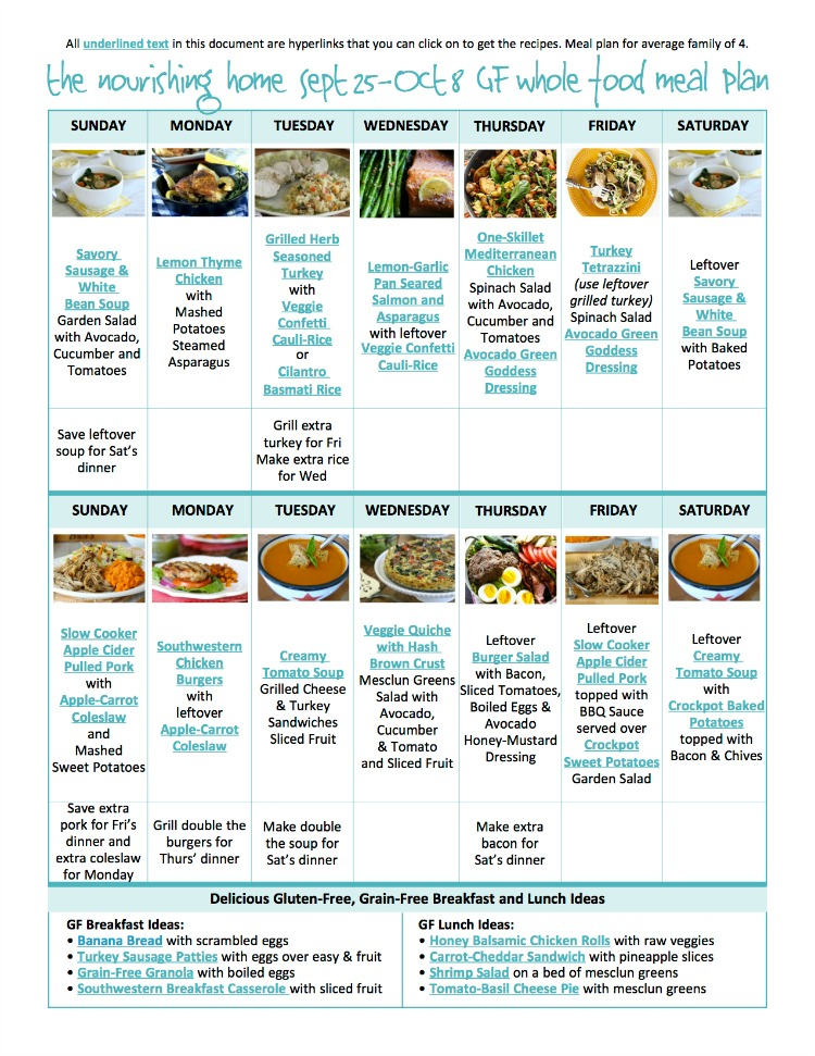 Bi-Weekly Whole Food Meal Plan for Sept 25–Oct 8 — the Better Mom