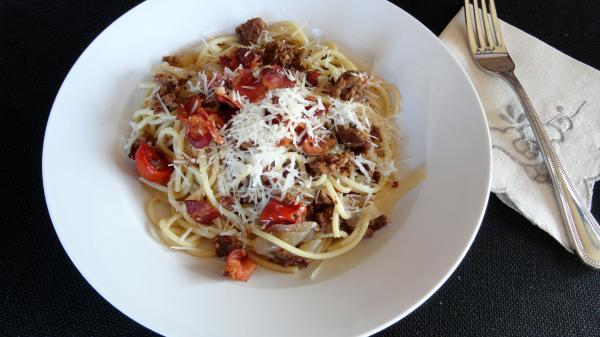 Pork Bacon And Onion Pasta Recipe   Just A PinchRecipes