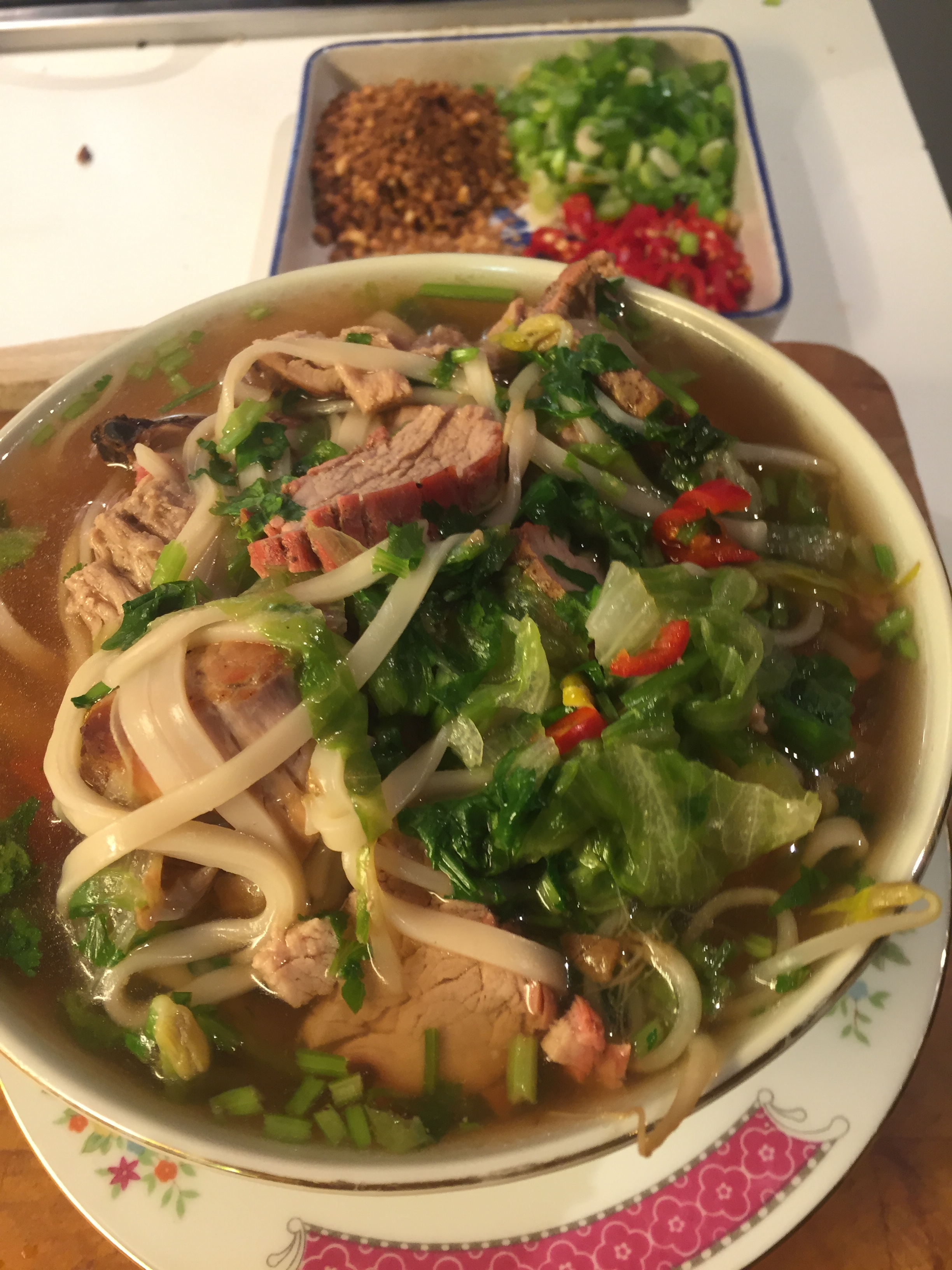 Noodle Soup with Thai Red Roast Pork